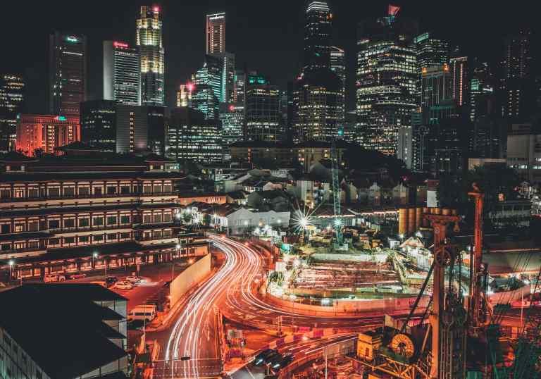 Night View of Singapore Chinatown